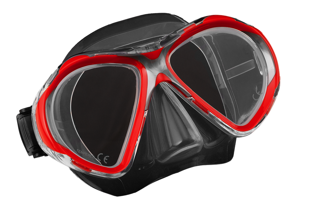 SCUBA FORCE VISION II MASK RED-CLEAR